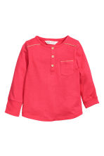 Long-sleeved Henley shirt - Raspberry pink - Kids | H&M CN 3